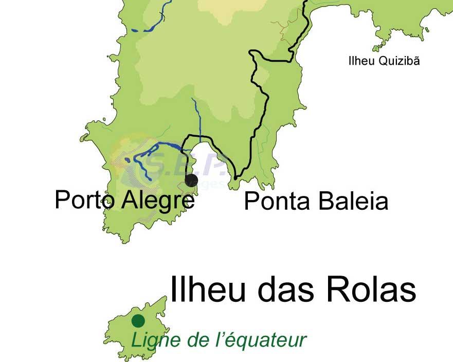Situé au sud de l'île de Sao Tomé, le petit îlot de Rolas de 3 km2 a la particularité d'être traversé par la ligne de l'Équateur
