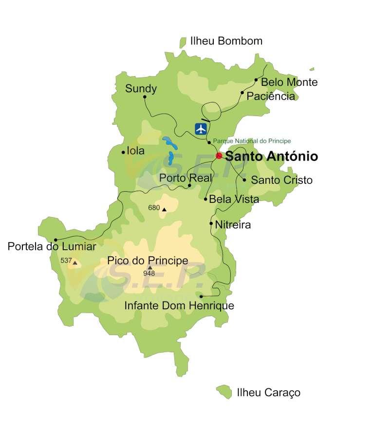 Situé au nord de l'archipel de SaoTomé-et-Principe, l'île de Principe s'étend sur 137 km2 avec 16 km de long et 8 km de large