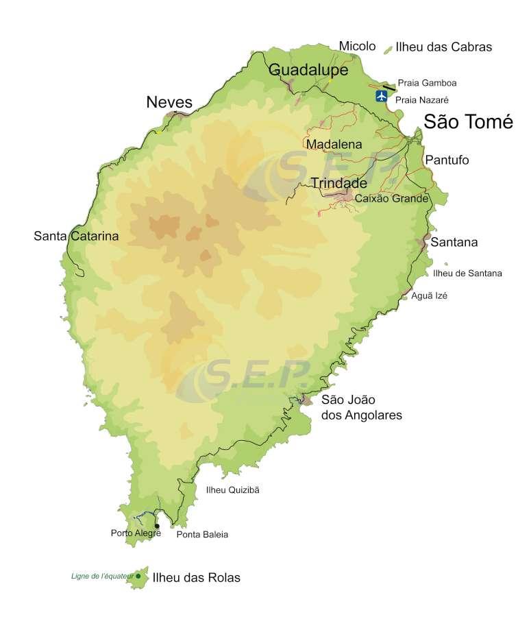 Île de Sao Tomé, s'étend sur 864 km2 avec 65 km de long et 35 km de large, plus grande île de l'archipel